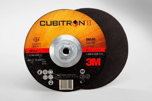 3M™ Cubitron™ II Cut-Off Wheel Quick Change 66540, T27 6 in x .045 in x 5/8-11 in, 25 per  inner, 50 per case