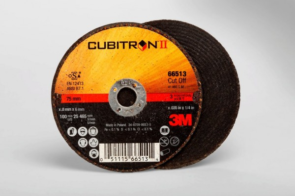 3M™ Cubitron™ II Cut-Off Wheel 66513, T1 3 in x .035 in x 1/4 in, 25 per  inner, 50 per case