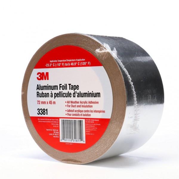 3M™ Aluminum Foil Tape 3381 Silver, 72 mm x 45 m 2 7 mil, 16