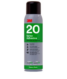 3M™ Heavy Duty 20 Spray Adhesive Clear, Net Wt 13.8 oz, 12 cans per case