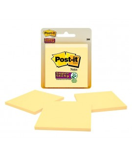 Post-it® Super Sticky Notes 3321-SSCY, 3 in x 3 in Canary Yellow 45 sh 3 pds/pk