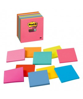Post-it® Super Sticky Notes, 3345-10SSMX, 3 in x 3 in (76 mm x 76 mm)