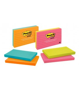 Post-it® Notes 635-2PKCT-L, 3 in x 5 in (76 mm x 127 mm), Asst. Cape Town Colors, Mixed Case, Lined, 2 Pads/Pack, 100 Sheets/Pad