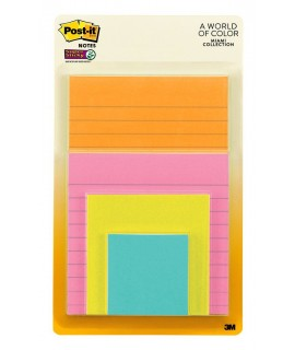 Post-it® Super Sticky Notes 4622-SSMIA, Multi Sizes, Miami Collection, 4 Pads/Pack, 45 Sheets/Pad